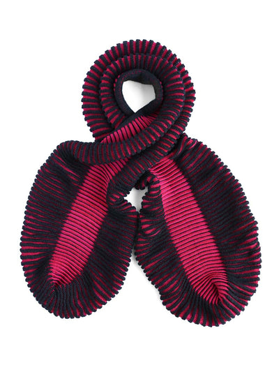 Women's sculptural kid mohair scarf in magenta and black color
