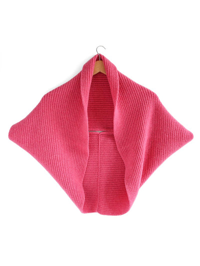 Infinity scarf and bolero cardigan in one, knitted in soft and warm Italian merino lambswool. Cerise red colour.