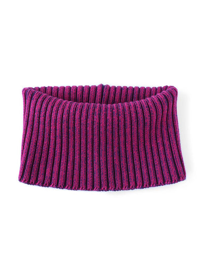 Knitted Neck warmer made in premium merino wool. Hot pink and purple colour.