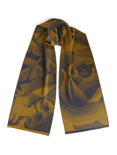 Pixelated Roses Scarf - Mustard & Blue