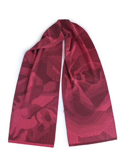 Merino wool knitted scarf with pixelated roses. Rose and aubergine colour.