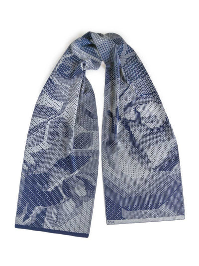 Merino wool knitted scarf with pixelated roses. Blue and grey colour.