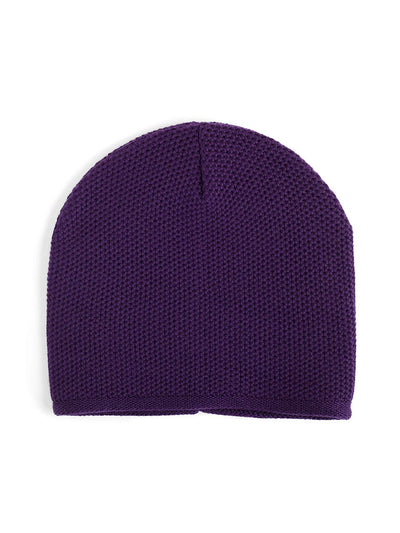 Knit beanie with a grainy texture is knitted in top-quality Italian merino wool. Purple colour.