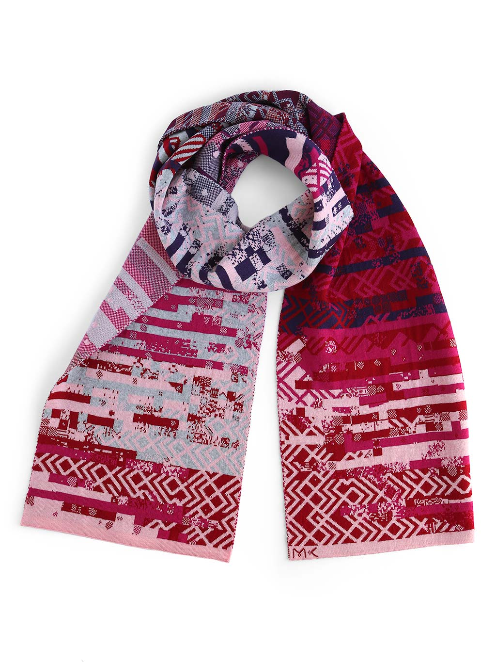 Glitch scarf with a knitted glitched pattern inspired by Art deco design style. It's knitted in extra fine Italian merino wool. Scarf with red and pink colour shades.