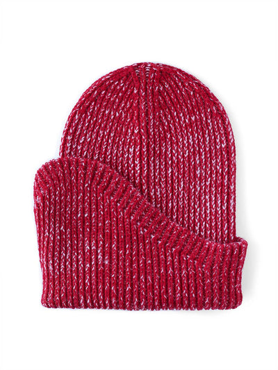 A classic beanie reshaped into a new asymmetrical form, knitted with two colours in premium merino wool. Cherry and pink colour.