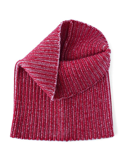 Knitted Neck warmer made in premium merino wool. Cherry and pink colour.