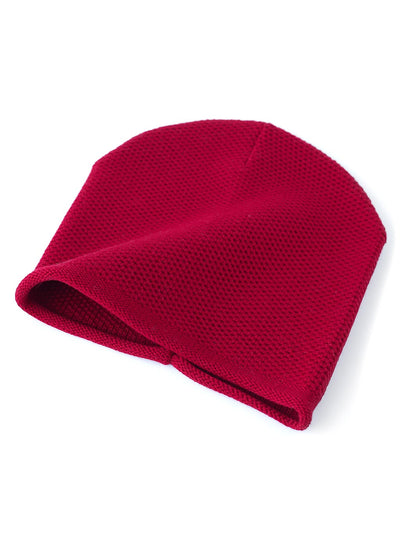 Knit beanie with a grainy texture is knitted in top-quality Italian merino wool. Cherry red colour.