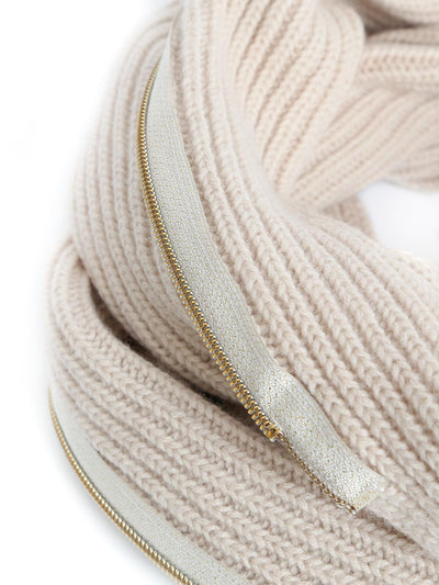 Infinity scarf and bolero cardigan in one, knitted in soft and warm Italian merino lambswool. Ivory colour.