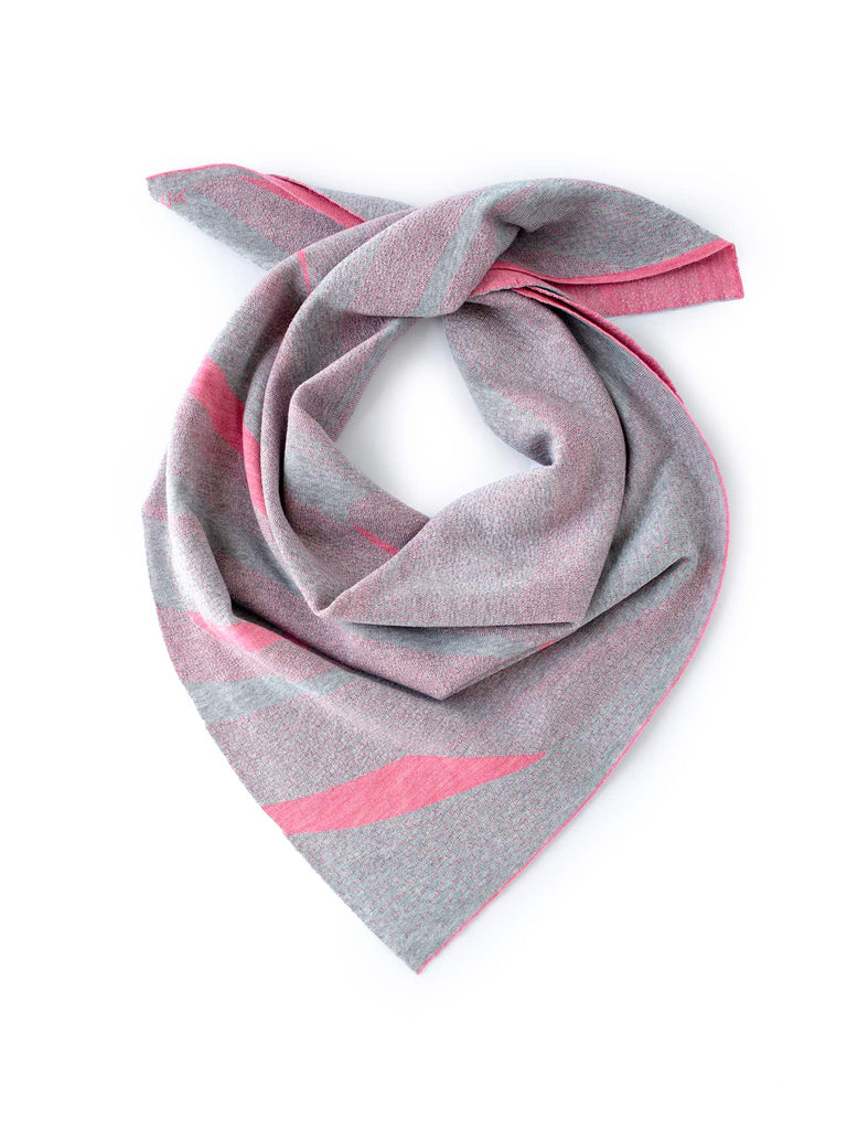 Sand Dune Scarf - Light Grey & Coral