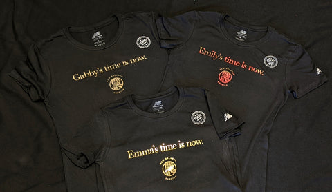 Olympic Trials New Balance Tees with Gold Foil for the Gold Medal Qualifiers