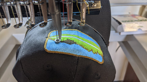 Up Close Embroidery of a Hat