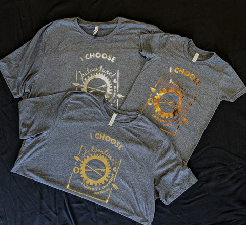 Silver, Gold, and Copper Foil Decals Heat Pressed on Tees