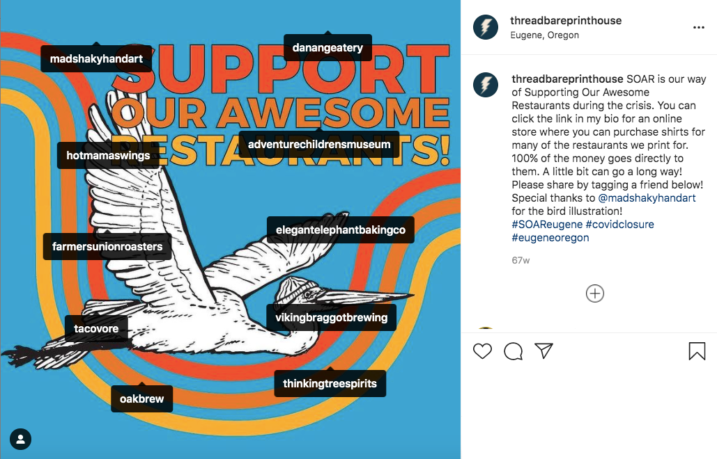Instagram Post for SOAR (Support Our Awesome Restaurants) Project
