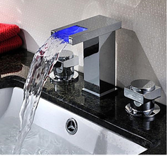 LED Chrome Waterfall Bathroom Basin Faucet - Chrome - Designer Ceiling Tiles