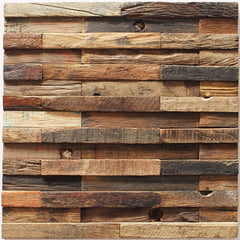 "3D Wood Panel Mosaic Tile, Rustic Antique, 30 Sq. ft., 11.811""x11.81"" - Designer Ceiling Tiles"
