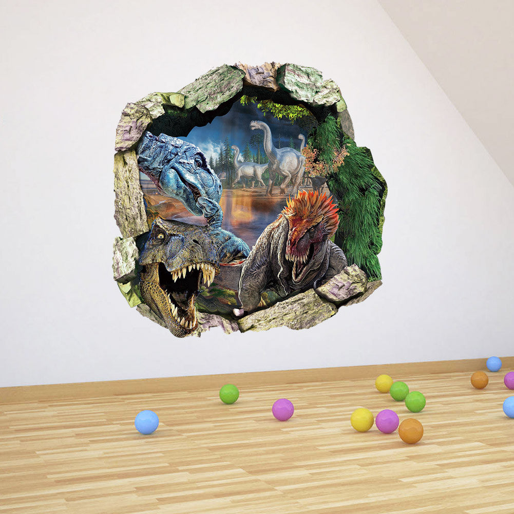 3d Scenery Wall Decals Removable For Kids Rooms Cartoon Dinosaur