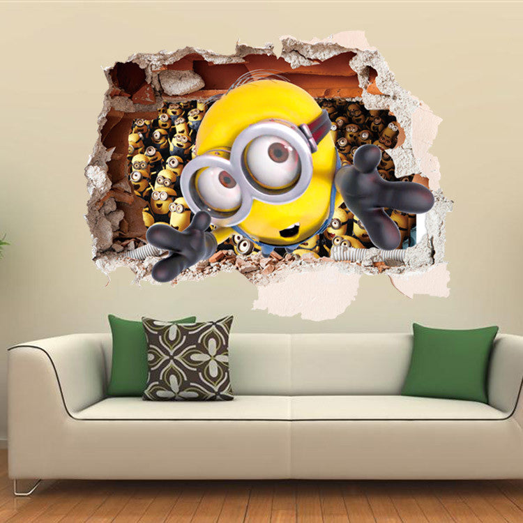 3d scenery wall decals - removable for kids rooms - minions