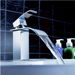 Waterfall Bathroom Sink Faucet Single Handle - Chrome Finish - Designer Ceiling Tiles