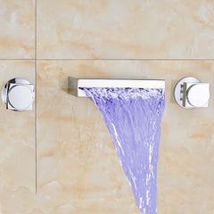 LED Color Changing Modern Widespread Waterfall - Wall Mount - Chrome Finish - Designer Ceiling Tiles