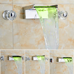 LED Color Changing Waterfall Widespread Wall Mount Faucet - Chrome Finsh - Designer Ceiling Tiles