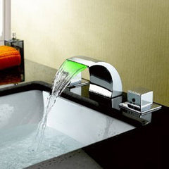 Waterfall Widespread Bathroom Sink Faucet - Chrome Finish - Designer Ceiling Tiles