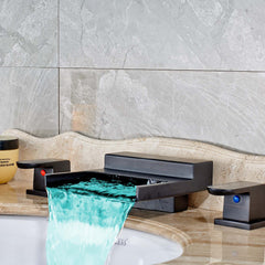 LED Color Changing Square Waterfall Bathroom Faucet - Oil Rubbed Bronze - Designer Ceiling Tiles