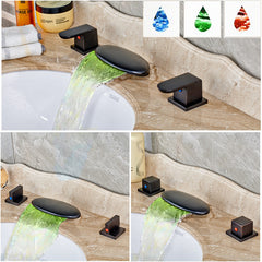 LED Color Changing Waterfall Widespread Bathroom Sink Faucet - Bronze - Designer Ceiling Tiles