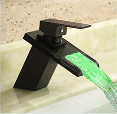 LED - Waterfall Modern Bathroom Sink Faucet  Oil Rubbed Bronze - Designer Ceiling Tiles
