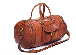 Handmade brown duffel leather travel   gym bag   product