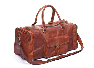 Handmade brown leather travel & gym bag - product