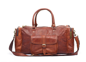 Handmade brown leather travel & gym bag - front