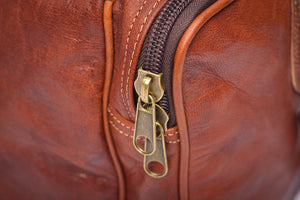 Handmade brown leather travel & gym bag - close up zip