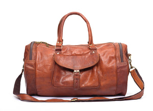 Handmade brown duffel leather travel   gym bag   front