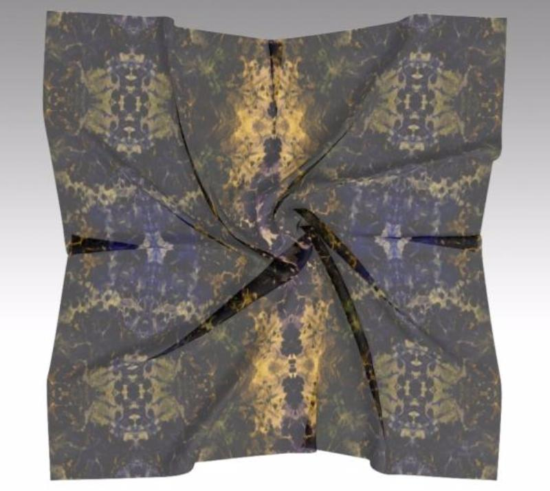 Chinoiserie Purple to Blue Gold Scarf