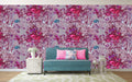 Botanical Colored Pencil-Fuchsia Wallpaper