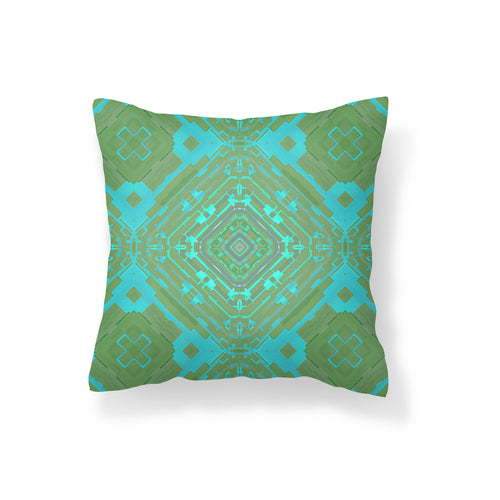 Geometry for Space Turquoise Pillow