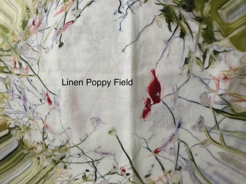 Fabric Remnant: Linen Poppy Field