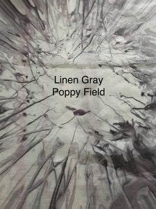 Fabric Remnant: Linen Gray Poppy Field