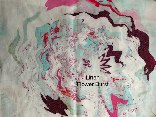 Fabric Remnant: Linen Flower Burst