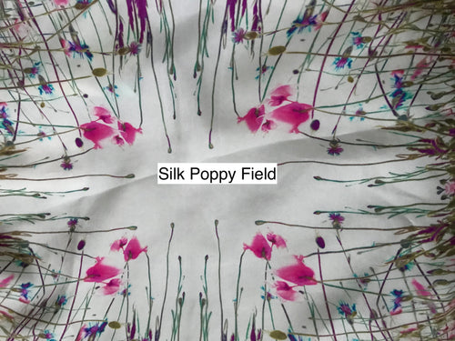 Fabric Remnant: Silk Poppy Field