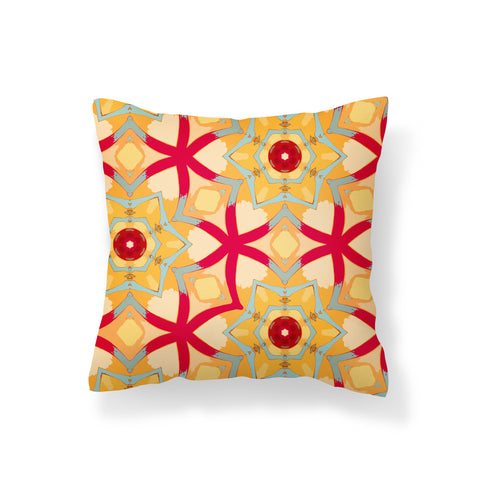 Red Petaled Yellow Floral Pillow