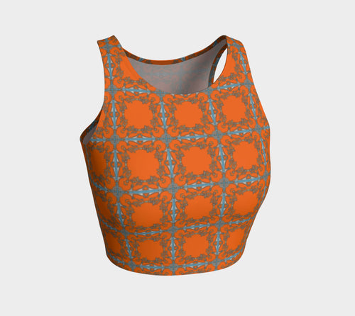 Tribal Transition Orange Sport Crop Top - Quick Ship