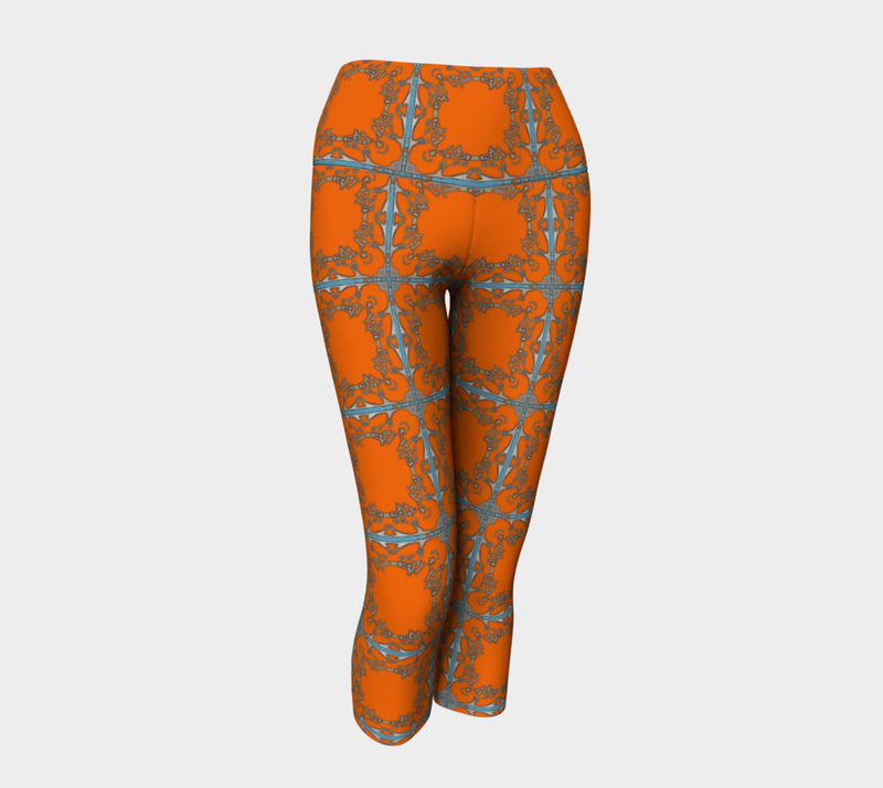 Tribal Transition Orange Capris - Quick Ship