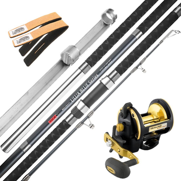 Tica Ulua Blue Series Rod & Daiwa Sealine 50 Combo with FREE Sand Spike & Rod Straps