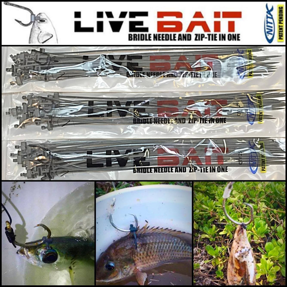 3 Pack - Nitta Live Bait Bridle Needle And Zip-Tie In One Gen 2 (60 Pieces)