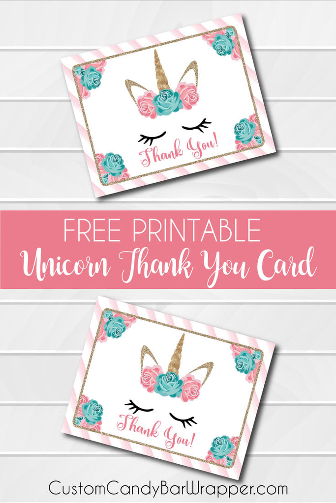 Free Printable Unicorn Thank You Cards