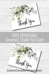 Free Printable Greenery Thank You Card