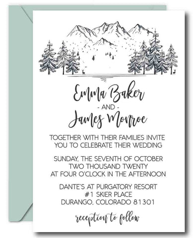 DIY Mountain Wedding Invitation Templates