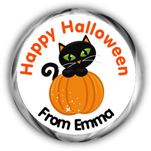 Cat Personalized Halloween Hershey Kisses Stickers