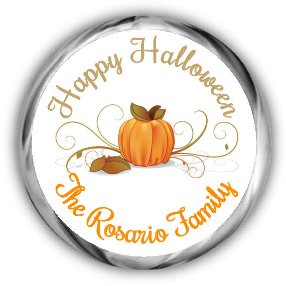Swirly Pumpkin Halloween Kisses Stickers